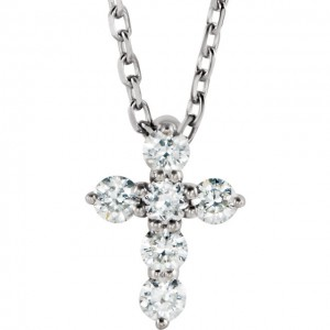 Sterling Silver 6th CTW Diamond Cross Necklace_Stuller