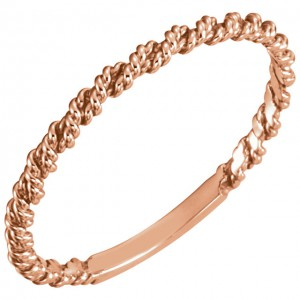 14K Rose 2mm Twisted Rope Band