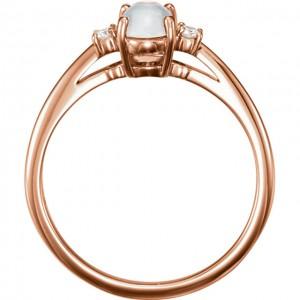 14K Rose Rainbow Moonstone & .06 CTW Diamond Ring -2