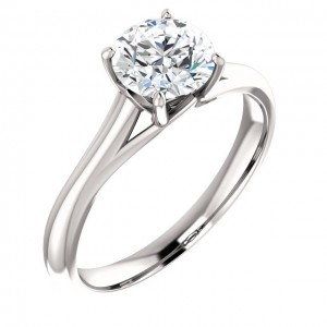 14K White 4.1mm Round Solitaire Engagement Ring