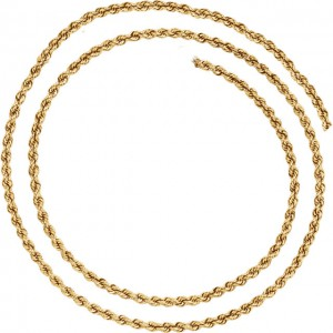 14K Yello 3mm Rope Chain Necklace