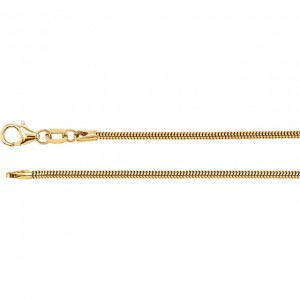 14K Yellow 1.5mm Solid Round Snake Chain