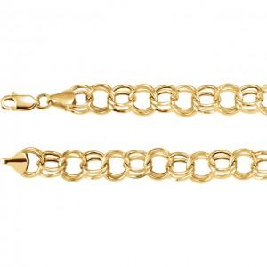 14K Yellow 5.7mm Double Link Charm 7.25 Bracelet