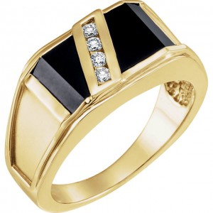14K Yellow Men's Onyx and Diamond Ring-3