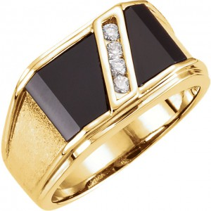 14K Yellow Men's Onyx and Diamond Ring