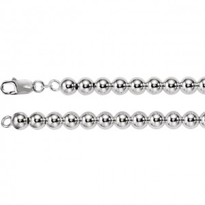 Sterling Silver 8mm Hollow Bead 18 Chain