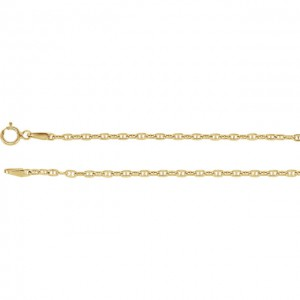 14 K Yello 2.4 MM Diamond Cut Rope Chain