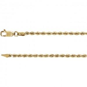 14 K Yello 2.4 MM Diamond Cut Rope Chain