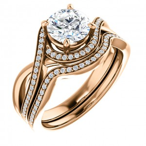 14K Rose 6.5mm Round Bypass Halo-Style Engagement Ring Mounting