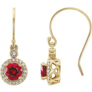 14K White Chatham Lab Grown Ruby CTW Diamond Halo-Style Earrings