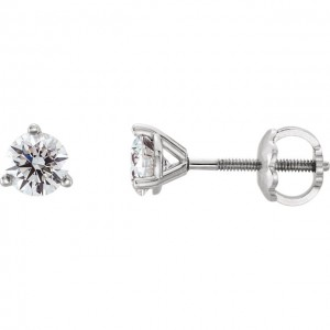 14K White Quarter CTW Diamond Stud Earrings 3-Prong Cocktail Style with Threaded Backs