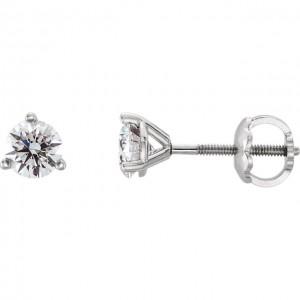 14K White Quarter CTW Diamond Stud Earrings 3-Prong Cocktail Style with Threaded Backs