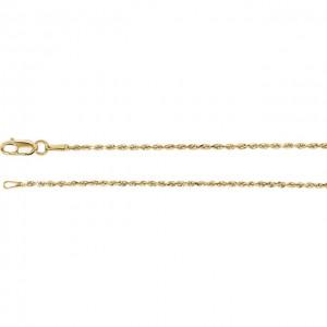 14K Yellow 1.3mm Diamond Cut Rope 18 Inch Chain-2