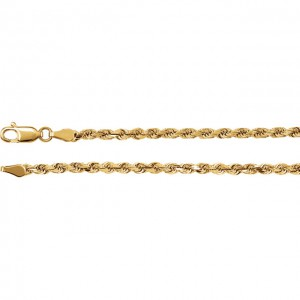 14K Yellow 2.8mm Diamond Cut Rope Chain 7 Inch-2