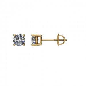 14K Yellow Half CTW Diamond Earrings with threaded backs