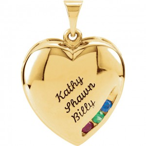 10K Yellow 3-Stone Engravable Family Heart Pendant Mounting