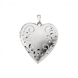 14K White Designed Engraved Heart Locket 21.25x20.25mm