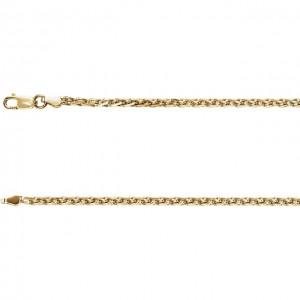 14K Yellow 2mm Diamond Cut Wheat 18 Chain