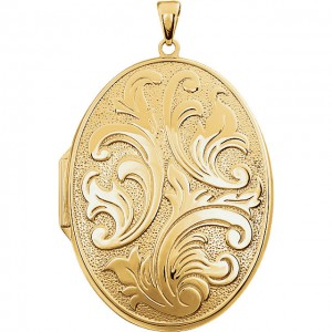 14K Yellow Gold-Plated Sterling Silver Oval Locket-20-P