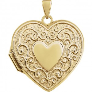 14K Yellow Heart Shaped Locket