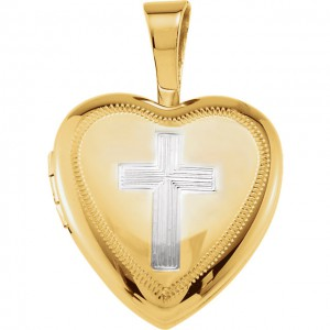 Gold Plated & Sterling Silver Locket with Cross