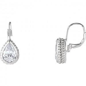 Sterling Silver Cubuc Zirconia Teardrop Earrings
