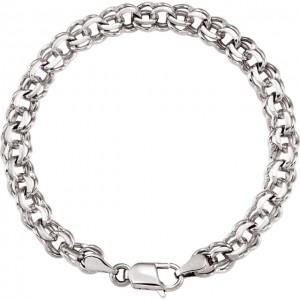14K White 7mm Solid Double Link Charm 7 Bracelet