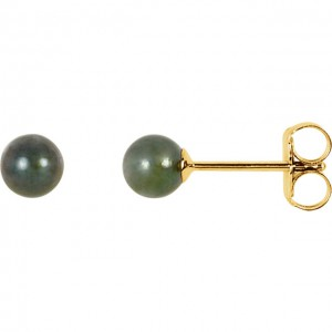 14K Yellow 4mm Black Akoya Cultured Pearl Earrings