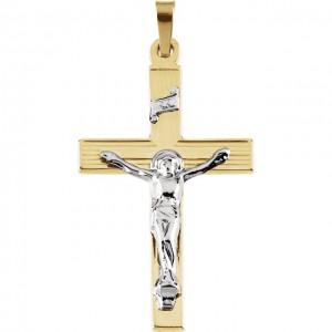 14K Yellow & White 29x19mm Crucifix Pendant
