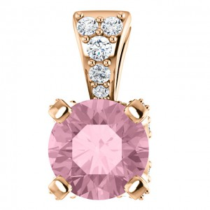 14K Rose Baby Pink Topaz Tenth CTW Diamond Pendant