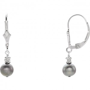 Sterling Silver 5.5-6mm Freshwater Cultured Grey Pearl Lever Back Earrings