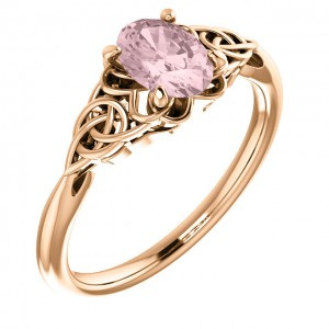 14K Rose Morganite Celtic-Inspired Ring