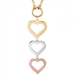14K Rose, Yellow White Heart 18Necklace
