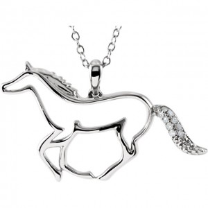 Sterling Silver .04 Diamond Tender Voice Horse Silhouette 18Necklace