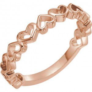 14K Rose Heart Ring 1
