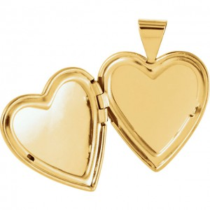 14K Yellow Gold Tapered Designed Heart Locket