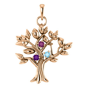 14K Rose 3-Stone Round My Tree™ Family Pendant