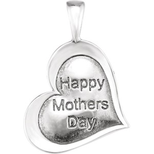 Sterling Silver Heartprint Happy Mothers Day Pendant