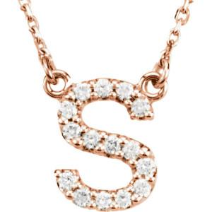 14K Rose Letter S CTW Diamond 16 Necklace