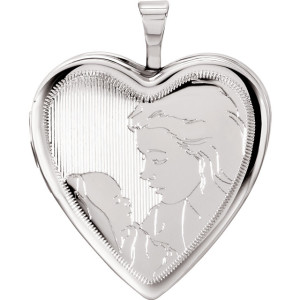 Sterling Silver 20.75x19.25mm Child & Mother Heart Locket