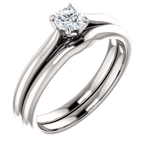 14K White 4.1 mm Round Solitaire Engagement Ring