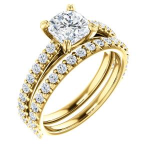 14K Yellow 6 mm Cushion Engagement Ring