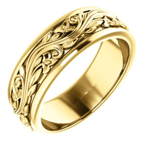 14K Yellow Gold 7mm Wedding Band