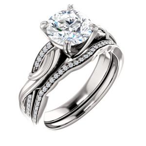 14K White 7.4 mm Round Engagement Ring