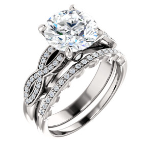 14K White 8.8 mm Round Engagement Ring
