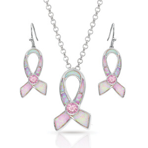 Pink Opal Ribbon Jewelry Set